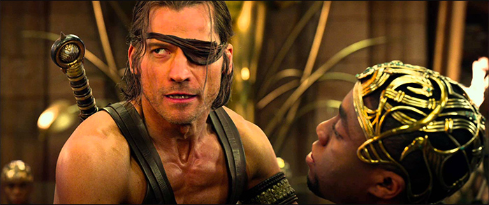 "Nikolaj Coster-Waldau and Chadwick Boseman in ""Gods of Egypt"""